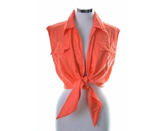 Iceberg Womens Top Shirt Sleeveless Size 40 Medium Orange Cotton