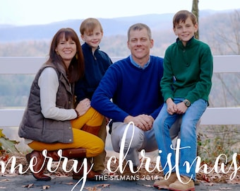 Simple Navy and White Striped Merry Christmas Christmas Cards-FREE SHIPPING or DIY printable