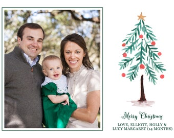 Glory to God in the Highest Watercolor Christmas Tree Christmas Cards-FREE SHIPPING or DIY printable