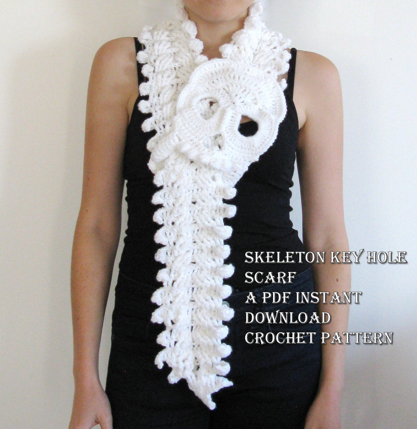 Crochet Patterns Key : Skeleton Key Hole Scarf Crochet Pattern by LittleLemonSweet