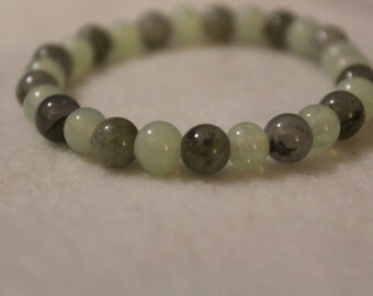 Labradorite and Aquamarine beaded bracelet