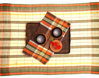 Vintage Swedish Checked 1970s Tablecloth