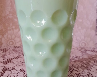 One JADEITE JADITE Jade Green Milk Glass THUMBPRINT Coin Dot Tumblers Unknown Maker