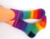 Handknitted socks Bright rainbow socks Very warm socks Sleeping socks Knitted socks Colorful womens socks Stylish girls socks Gift idea 2016