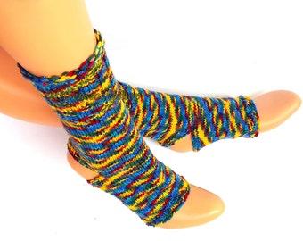 Rainbow Hand Knitted Yoga Socks Girl's Yoga Socks Colorful Women's Yoga Socks Knit Socks Dance Socks Leg Warmers Summer Socks Pedicure Socks
