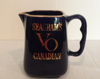 Seagrams VO Canadian Pitcher, Whiskey, Vintage, Collectible, Blue & Gold, Advertising, Barware, Man Cave And Bar Decor, Souvenir, 1970s