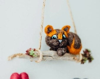 Cat & Mouse needle felted wall hanging