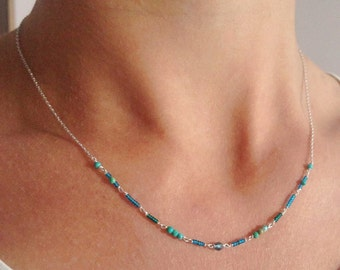 Turquoise ethnic thin silver necklace