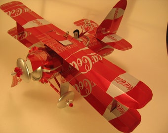 Coca Cola Soda Can Airplane - Handcrafted-Wind Spinner-sun catcher-air plane