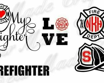 Set of 4 Firefighter SVGs, I Love My Firefighter, HTV,Vinyl, cutting file, cricut design space, digital file, SVG, JPEG Download Zip File
