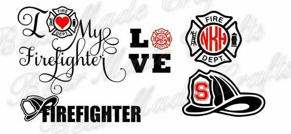 Download Set of 4 Firefighter SVGs I Love My Firefighter HTVVinyl
