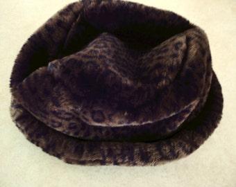 """French Designer Hat Faux Fur Hat by """"La Maison De La Fausse Fourrure"""" Fall Winter Vintage Faux Fur Hat French Designer Unisex Fur Hat Gift"""