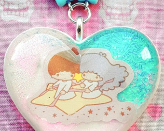 Little twin stars cute resin pendant necklace with pastel beaded chain