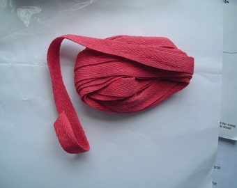 """Crescent Colours Hand-dyed - Cherry Tomato - 100% Cotton 1/2"""" Twill Tape - 3 yards"""