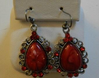 Red Magnesite Antique Silver earrings V3