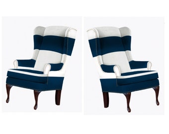 FRANCOISE Pair - handmade Wingback Nailhead Broad Striped Wing Chairs