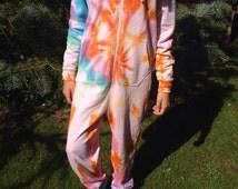 Adult Onesie women's onesie Nightwear Size S/M Tie Dye Rainbow spiral