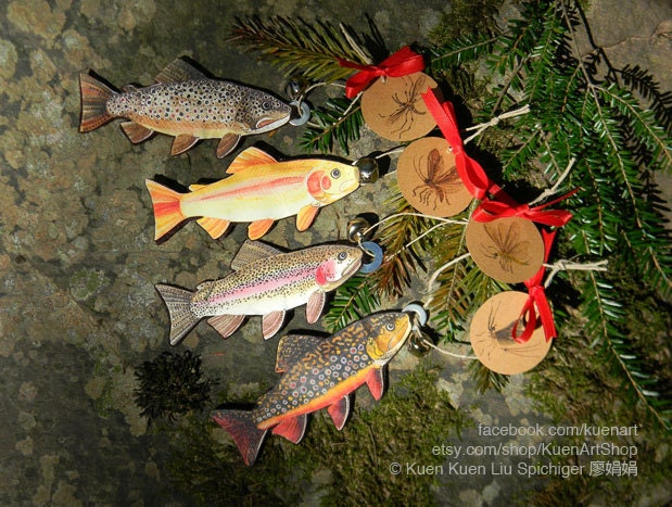 Trout and Aquatic Insects Ornaments Trout Fish Christmas