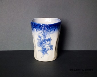 Antique flow blue vase,blue transferware, romantic shabby-chic home decor