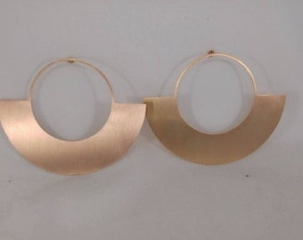 Oversized earrings. Retro style large hoops. Gold Hoop Earrings. Geometric hoops. Statement earrings.