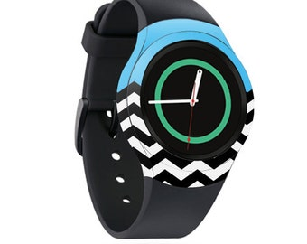 Skin Decal Wrap for Samsung Gear S2, S2 3G, Live, Neo S Smart Watch, Galaxy Gear Fit cover sticker Baby Blue Chevron