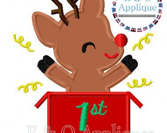 1st Christmas Applique - Reindeer Applique - Christmas Applique - 1st Christmas Embroidery - Reindeer Embroidery -  Christmas Embroidery