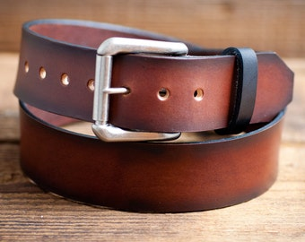 Brown Leather Belt, Antiqued for A vintage look