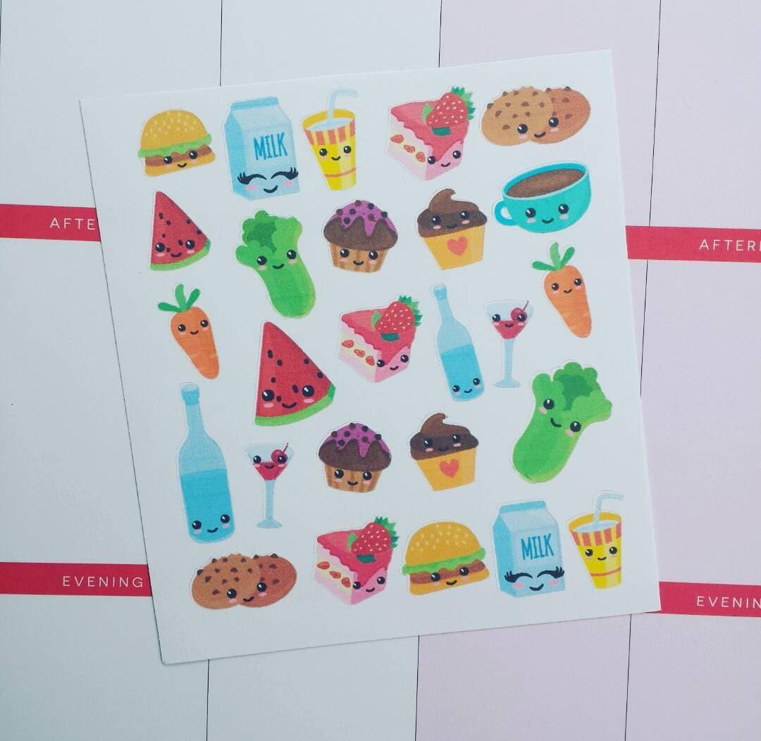 Kawaii Food Planner Stickers Erin Condren by PopsDesignStudio