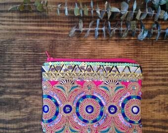 Pink Bohemian Clutch. Embellished Bag.