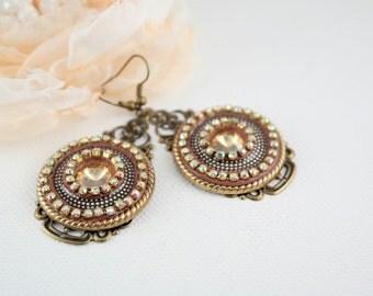 Big brown earrings,long boho earrings,shiny earrings,round earrings,brown boho earrings, earrings boho,handmade boho earrings,christmas gift