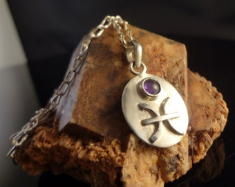 Pisces Amethyst Zodiac Necklace, Handmade, Solid Sterling Silver, 20 inches.