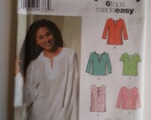 Boho tunic/ long sleeve blouse / hippy blouse short sleeve top 2003 sewing pattern, Size 8 10 12 14, Bust 31 32 34 36, Simplicity 5684