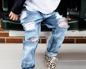 The Bees Knees pants- distressed denim- unisex- baby- toddler