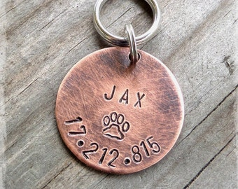 Distressed Copper Round ~ Hand Stamped Pet ID Tag ~ Medium 1""