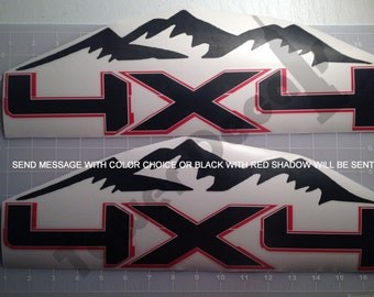 4X4 Mountain Tech Off Road 2 color Vinyl Decals Fits Chevy Dodge Ford Nissan Toyota Trucks 2008-2016