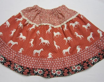 Girls Red Horse 4 tiered Cotton Twirly Skirt in Size  3 to 4