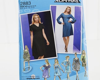 Simplicity Knit Dress Pattern, Project Runway, Uncut Sewing Pattern, Simplicity 2883, Size 6-14
