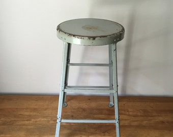 "Vintage industrial 26"" steel stool in battleship grey 3 available"