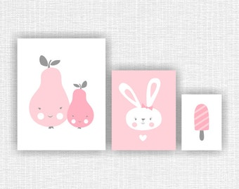 Pink and gray Baby Girl Room wall Decor Art Set of 3, 11x14-1, 8x10-1 and 5x7-1, Pear, Bunny, Ice Cream Set Prints INSTANT DOWNLOAD