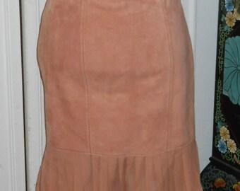 Vintage soft lambskin skirt with silk ruffle