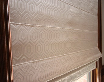 "Flat Roman Shade ""Luminaire Champagne"" with chain mechanism, Geometric pattern, Windows Treatment, custom made"