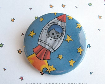 Cute Kitty Button, Cute Kitty Pin, Cat Pinback, Space Cat, Cat Accessories, Funny Button, Wearable Art, Kawaii, Cartoon Cat Drawing