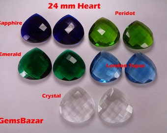 24mm Heart Sapphire, Peridot, Emerald, Topaz and Crystal Briolette Beads