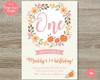 Pumpkin 1st Birthday Invitation // 5x7 Fall Birthday Invitations - Pumpkin Birthday Invitations Blue Orange Pink Pumpkin Harvest Invitations
