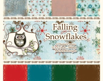 Falling Snowflakes 12x12 Collection - Instant Download