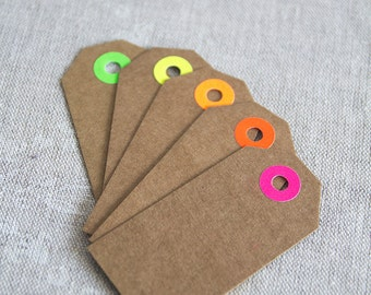 25 kraft gift tags with neon reinforcement, kraft paper tag, wedding favor tag, price embellish card package, thank you tag 1 3/8x2 3/4""