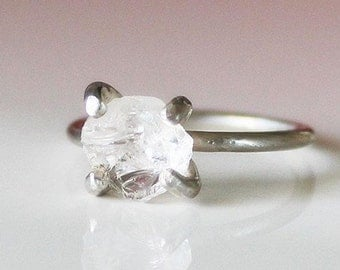 Handmade White Crystal Ring, 925 Silver Crystal Rock Ring, Raw Mineral Ring, Unique Gift