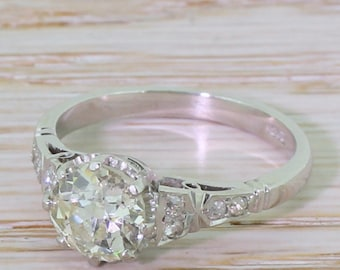 Art Deco 1.68 Carat Old European Cut Diamond Engagement Ring, circa 1930