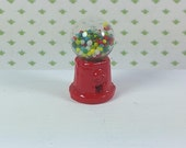 "MINIATURE GUMBALL MACHINE, 1"" Tall, Metal & Glass, Lundby or Tomy 1:18 Scale, Vintage Dollhouse or General Store Accessory, Decor"