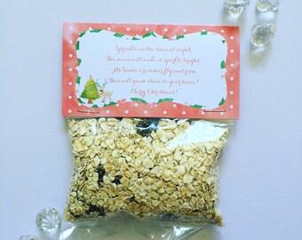 Kawaii Christmas reindeer food bag and tag